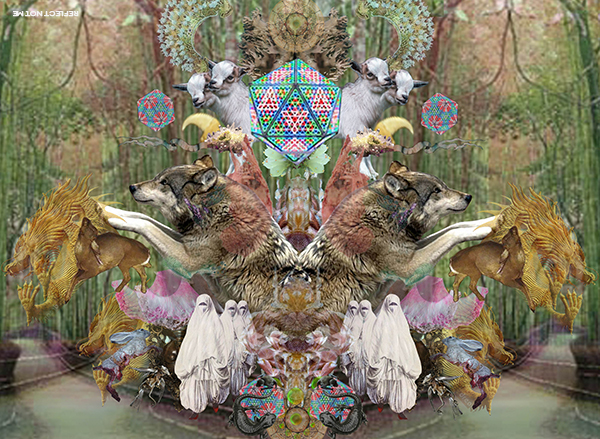 Digital art collage psychedelia modern glitch vaporwave has dragons and wolves in it neo invocation trippy optical illusion